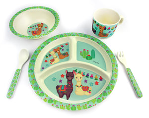 TINYMILLS 5-Piece Eco-Friendly Plant Fiber Dinnerware Set with Llama Design