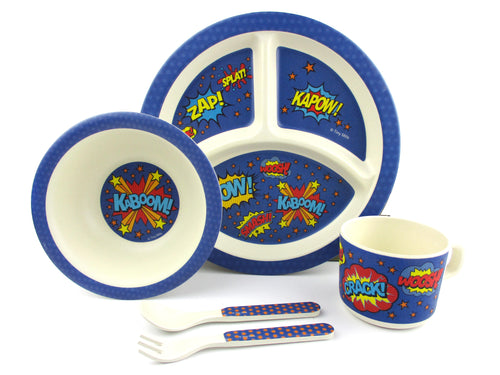 TINYMILLS 5-Piece Eco-Friendly Plant Fiber Dinnerware Set with Superhero Design