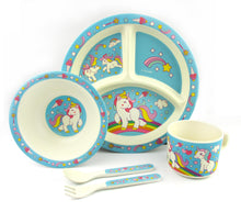 Load image into Gallery viewer, TINYMILLS 5-Piece Eco-Friendly Plant Fiber Dinnerware Set with Unicorn Design