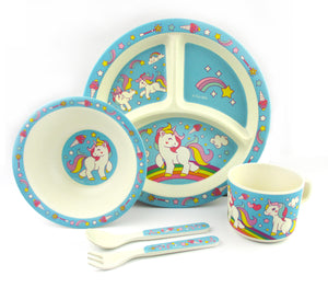 TINYMILLS 5-Piece Eco-Friendly Plant Fiber Dinnerware Set with Unicorn Design $ 19.95 Tiny Mills®