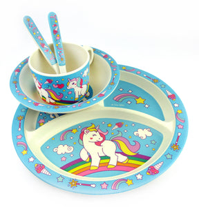 TINYMILLS 5-Piece Eco-Friendly Plant Fiber Dinnerware Set with Unicorn Design