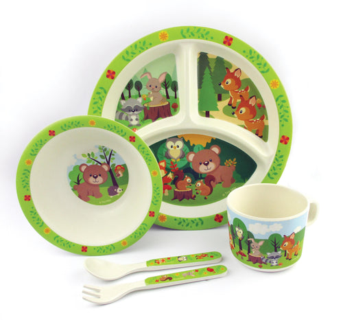 TINYMILLS 5-Piece Eco-Friendly Plant Fiber Dinnerware Set with Woodland Animal Design - | Tiny Mills®