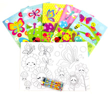 Butterfly Flowers Spring Themed Coloring Books with Crayons Party Favors - Set of 6 or 12 - Coloring Books | Tiny Mills®
