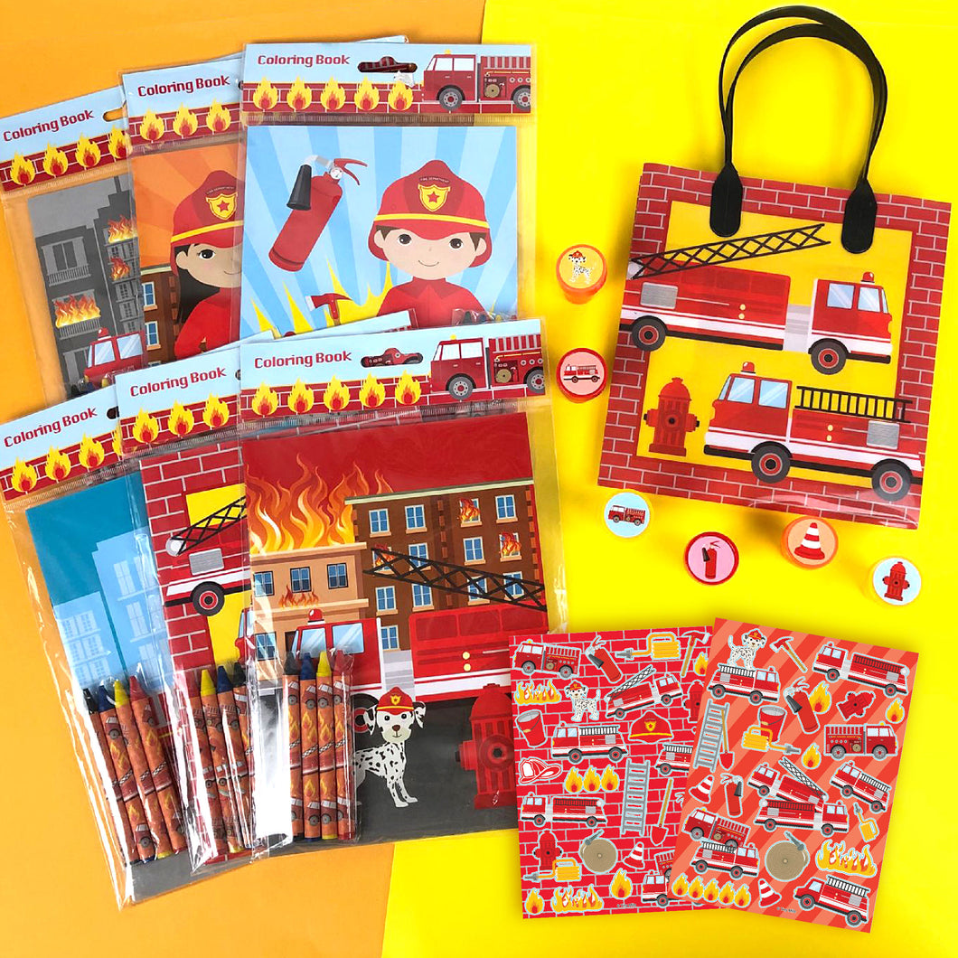 Fire Trucks Party Favor Bundle for 12 Kids