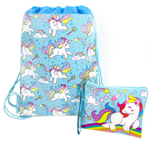 Unicorn Drawstring Backpack with Wristlet 2 Piece Set Travel Gym Cheer (Blue)