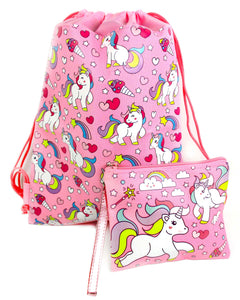 Unicorn Drawstring Backpack with Wristlet 2 Piece Set Travel Gym Cheer (Pink)