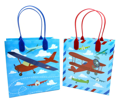 Airplane Party Favor Bags Treat Bags - Set of 6 or 12