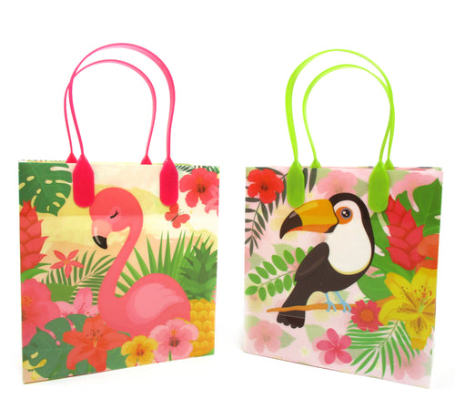 Flamingo Tropical Luau Party Favor Bags Treat Bags - 12 Bags