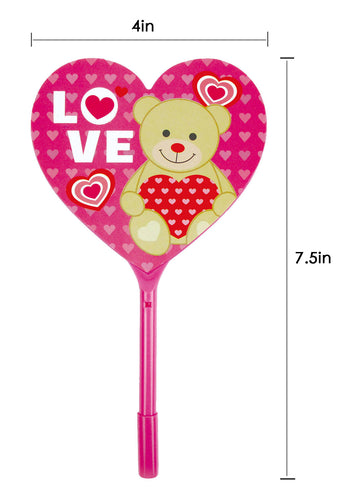 Valentine's Day Heart Shaped Fan Pen, 12 Pack
