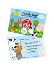 Load image into Gallery viewer, Farm Animals Fill-in Birthday Thank You Cards for Kids