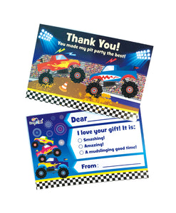 Monster Truck Fill-in Birthday Thank You Cards for Kids