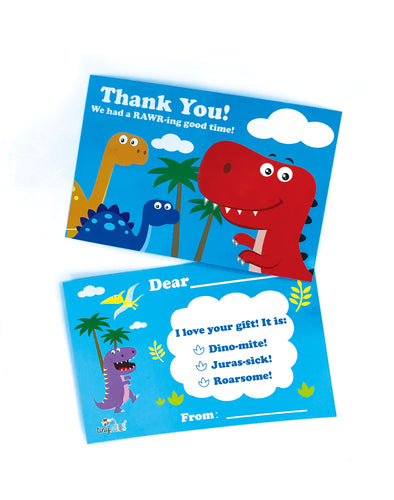 Dinosaur Fill-in Birthday Thank You Cards for Kids