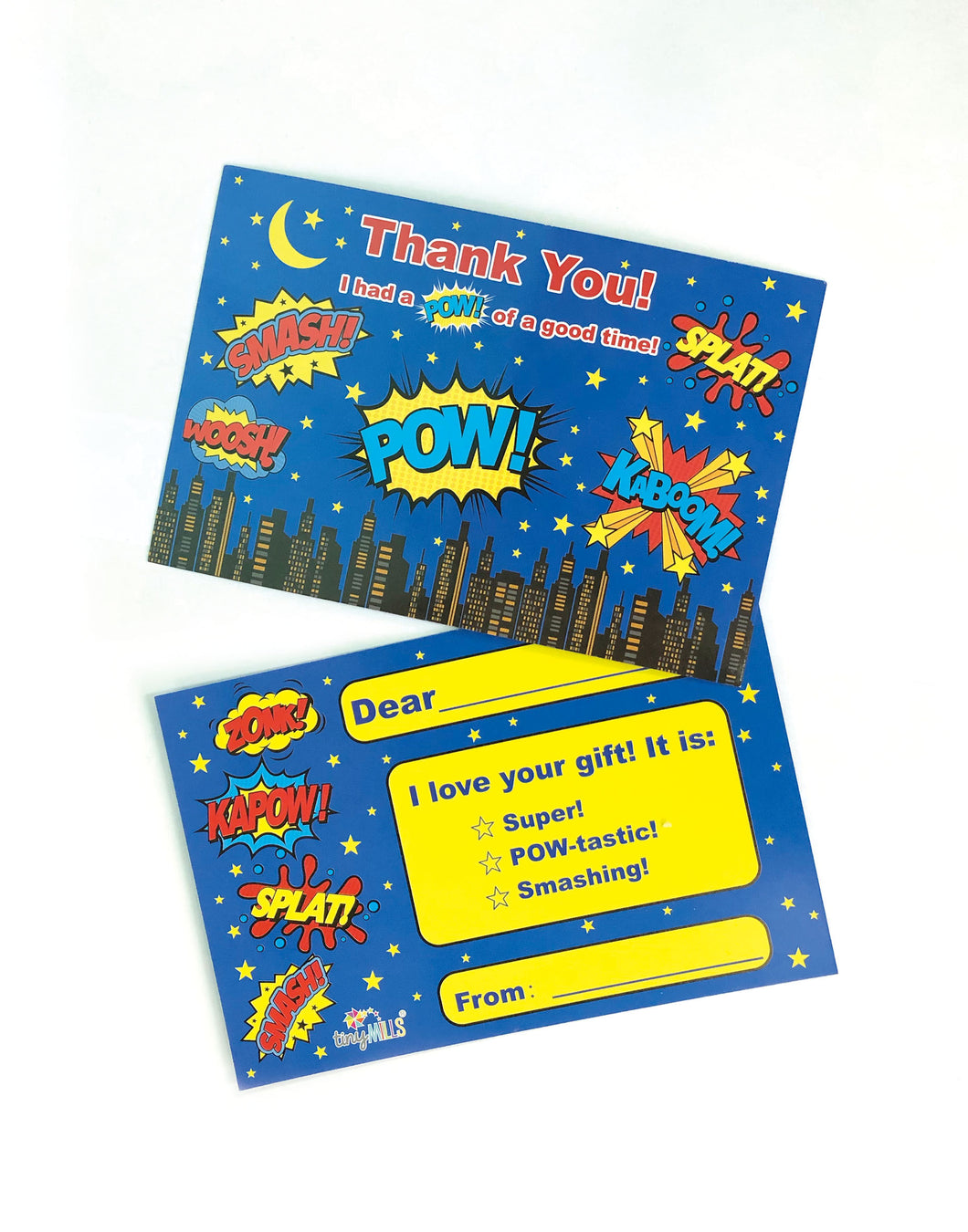 Superhero Fill-in Birthday Thank You Cards for Kids