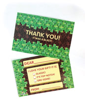 Load image into Gallery viewer, Pixels Mine Crafter Fill-in Birthday Thank You Cards for Kids