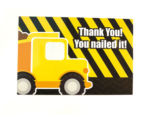 Construction Fill-in Birthday Thank You Cards for Kids