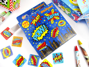 Superhero Stickers 100 Stickers/Dispenser, Pack of 1, 6 or 12 Dispensers