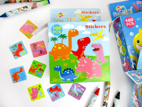 Dinosaur Stickers 100 Stickers/Dispenser, Pack of 1 or 6 or 12 Dispensers