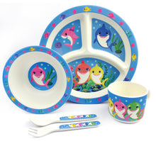 TINYMILLS 5-Piece Eco-Friendly Plant Fiber Dinnerware Set with Shark Family Design - | Tiny Mills®