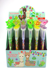 Llamas Stackable Crayon with Stamper Topper
