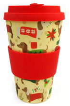 Load image into Gallery viewer, Eco-Friendly Reusable Plant Fiber Holiday Travel Mug with Christmas Wiener Dog Design