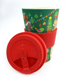 Eco-Friendly Reusable Plant Fiber Holiday Travel Mug with Christmas Llama Alpaca Design
