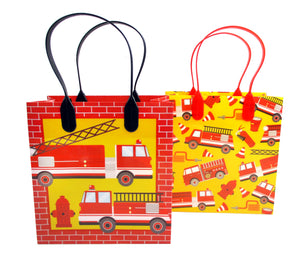 Fire Trucks Party Favor Bags Treat Bags - 12 Bags - Paper Bags | Tiny Mills®