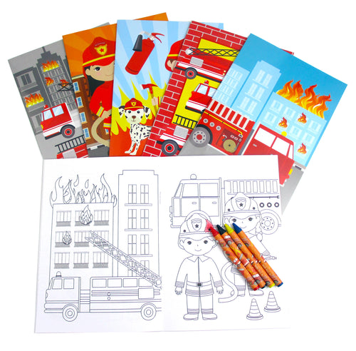 Fire Trucks Coloring Books with Crayons Party Favors, Set of 12 - Coloring Books | Tiny Mills®