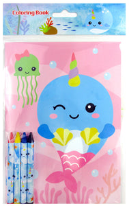 Narwhal Coloring Books with Crayons Party Favors - Set of 6 or 12 - Coloring Books | Tiny Mills®