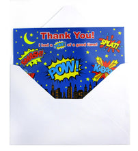 Load image into Gallery viewer, Superhero Fill-in Birthday Thank You Cards for Kids