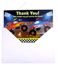 Load image into Gallery viewer, Monster Truck Fill-in Birthday Thank You Cards for Kids