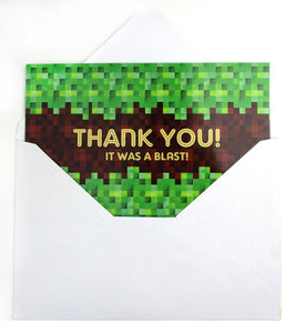 Pixels Mine Crafter Fill-in Birthday Thank You Cards for Kids