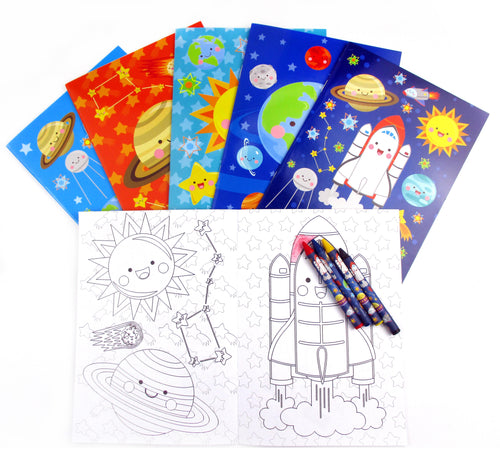 Outer Space Coloring Books with Crayons Party Favors - Set of 6 or 12 - Coloring Books | Tiny Mills®