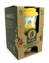 Load image into Gallery viewer, Eco-Friendly Reusable Plant Fiber Travel Mug with Tropical Pineapple Design