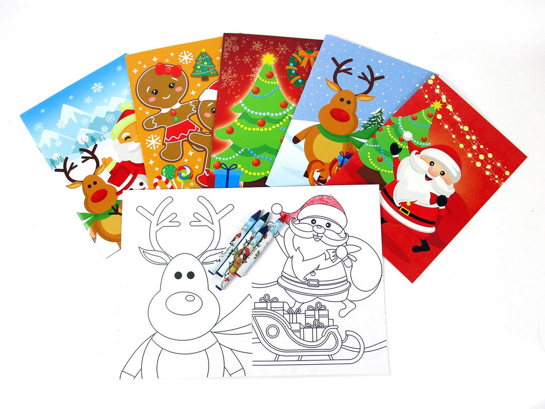 Christmas Holidays Coloring Books with Crayons - Set of 6 or 12