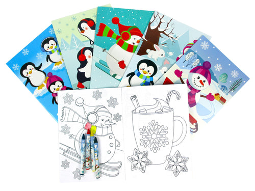 Winter Holidays Penguin Coloring Books with Crayons - Set of 6 or 12
