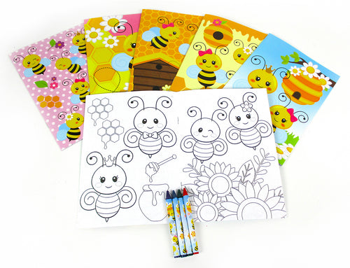 Honeybees Coloring Books with Crayons Party Favors - Set of 6 or 12 - Coloring Books | Tiny Mills®