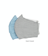 Load image into Gallery viewer, Cotton Face Masks for Kids of Gray Gingham and Blue Stripes Pack of 2