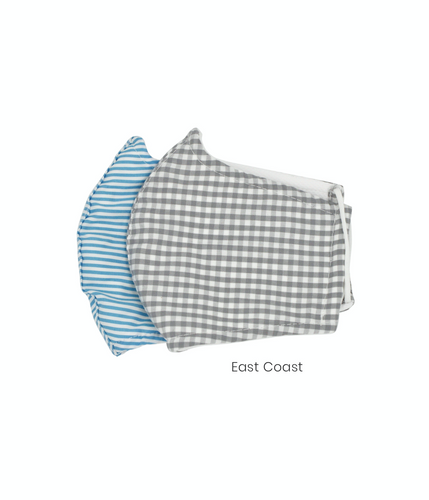 Cotton Face Masks for Kids of Gray Gingham and Blue Stripes Pack of 2