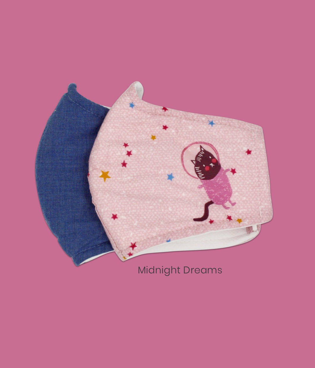 Cotton Face Masks for Kids of Pink Cat and Denim Blue Pack of 2