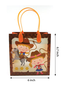 Western Cowboy Cowgirl Themed Party Favor Bags Treat Bags - Set of 6 or 12