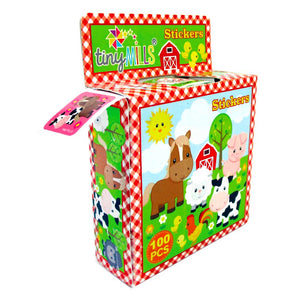 Farm Animals Barnyard Stickers 100 Stickers/Dispenser, Pack of 12 Dispensers - Sticker Set | Tiny Mills®