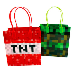 Pixels Miner Themed Party Favor Bags Treat Bags - 12 Bags