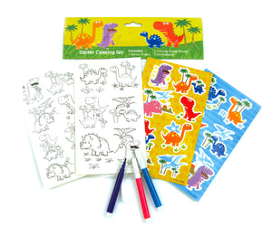 Dinosaurs Color-in Sticker Set with Markers Party Favors - 12 Pack