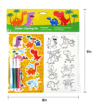 Load image into Gallery viewer, Dinosaurs Color-in Sticker Set with Markers Party Favors - 12 Pack