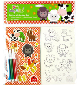 Barnyard Farm Animals Color-in Sticker Set with Markers Party Favors, 12 Pack