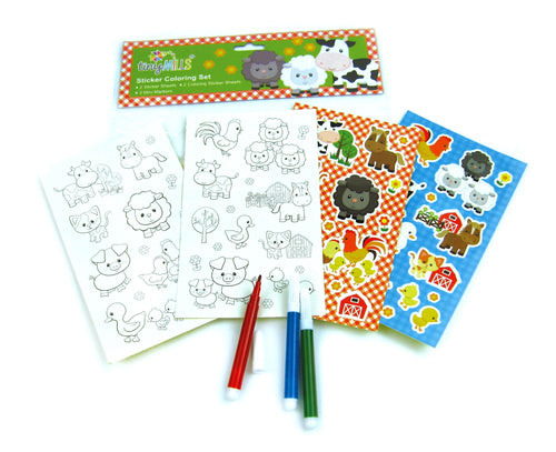 Barnyard Farm Animals Color-in Sticker Set with Markers
