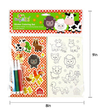 Load image into Gallery viewer, Barnyard Farm Animals Color-in Sticker Set with Markers Party Favors, 12 Pack