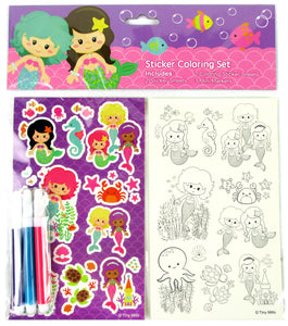 Mermaids Color-in Sticker Set with Markers Party Favors, 12 Pack - Sticker Set | Tiny Mills®