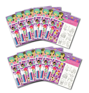 Mermaids Color-in Sticker Set with Markers Party Favors, 12 Pack
