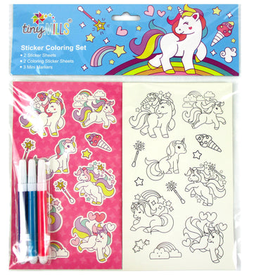 Unicorn Color-in Sticker Set with Markers Party Favors, 12 Pack
